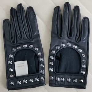 Burberry moto gloves leather studded motorcycle